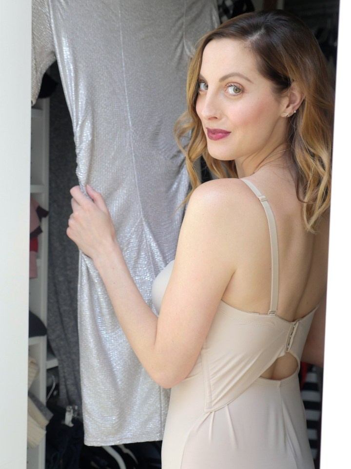 Eva Amurri Martino selects a silver dress to wear over her maidenform shapewear slip