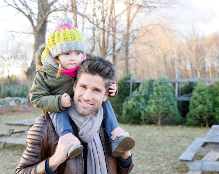 Marlowe Martino sits on dad Kyle Martino's shoulders at the Christmas tree farm in Connecticut
