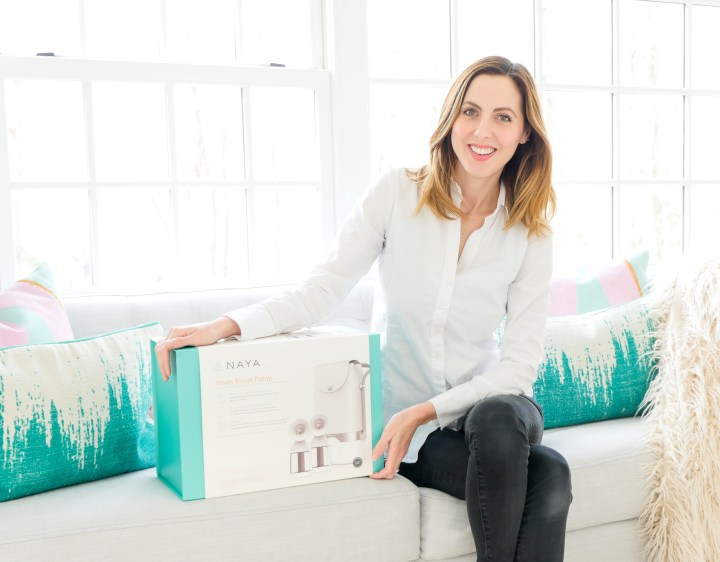 Eva Amurri Martino pictured with the Naya Health Breast Pump