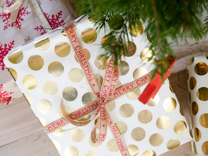 Wrapped gifts under Eva Amurri Martino's christmas tree