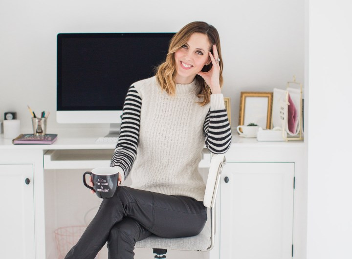 Lifestyle blogger Eva Amurri Martino is pictured in her studio