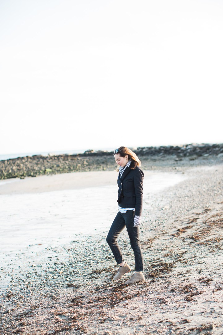 Eva Amurri Martino walks by the water at Compo Beach in Connecticut