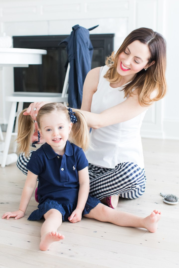 Eva Amurri Martino puts her daughter Marlowe's blonde hair in pigtails