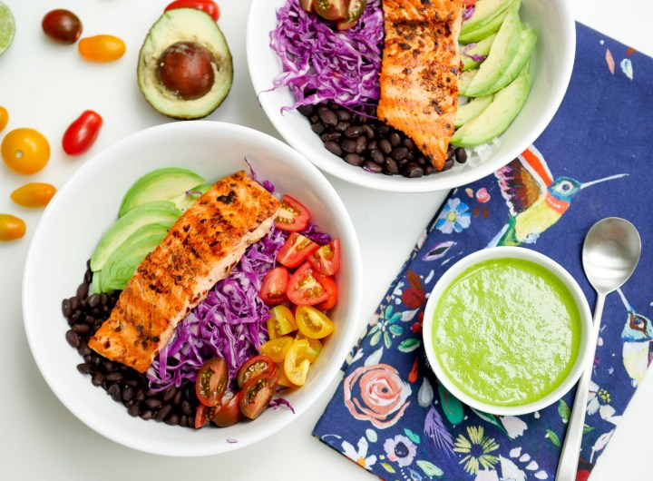Eva Amurri Martino's colorful and healthy Mexican Spice-Rubbed Salmon Bowl