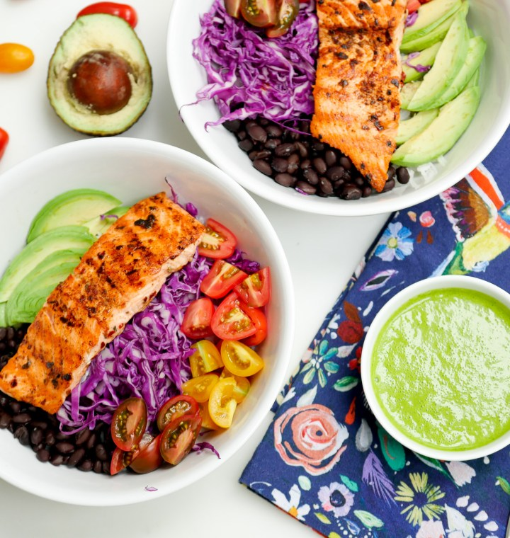 Eva Amurri Martino's colorful and healthy Mexican Spice-Rubbed Salmon Bowl