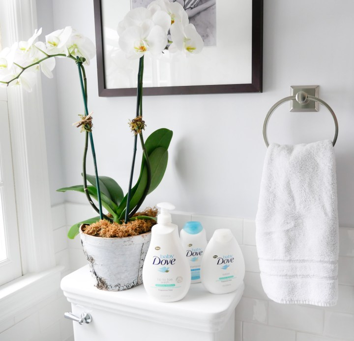 Baby Dove bath product sits in the bathroom next to a potted orchid in Eva Amurri Martino's Connecticut home