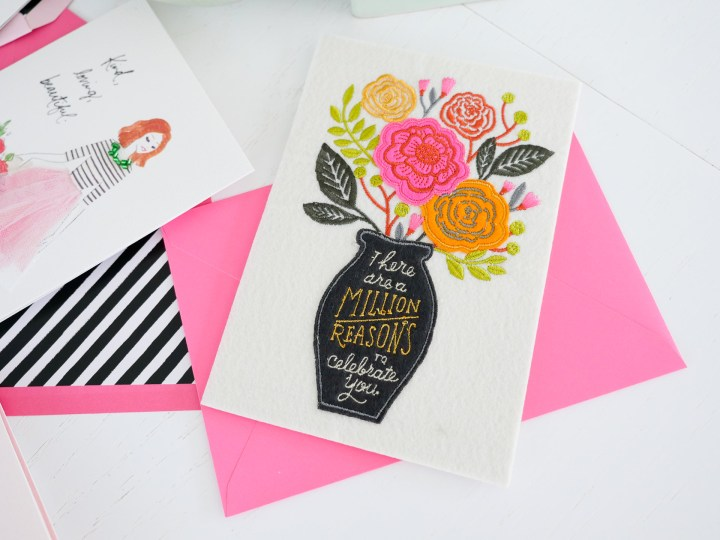 Details of a colorful, embroidered Hallmark Signature Mother's Day card