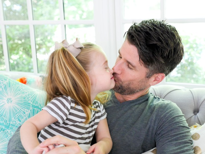 Kyle Martino's two year old daughter, Marlowe, gives him a kiss