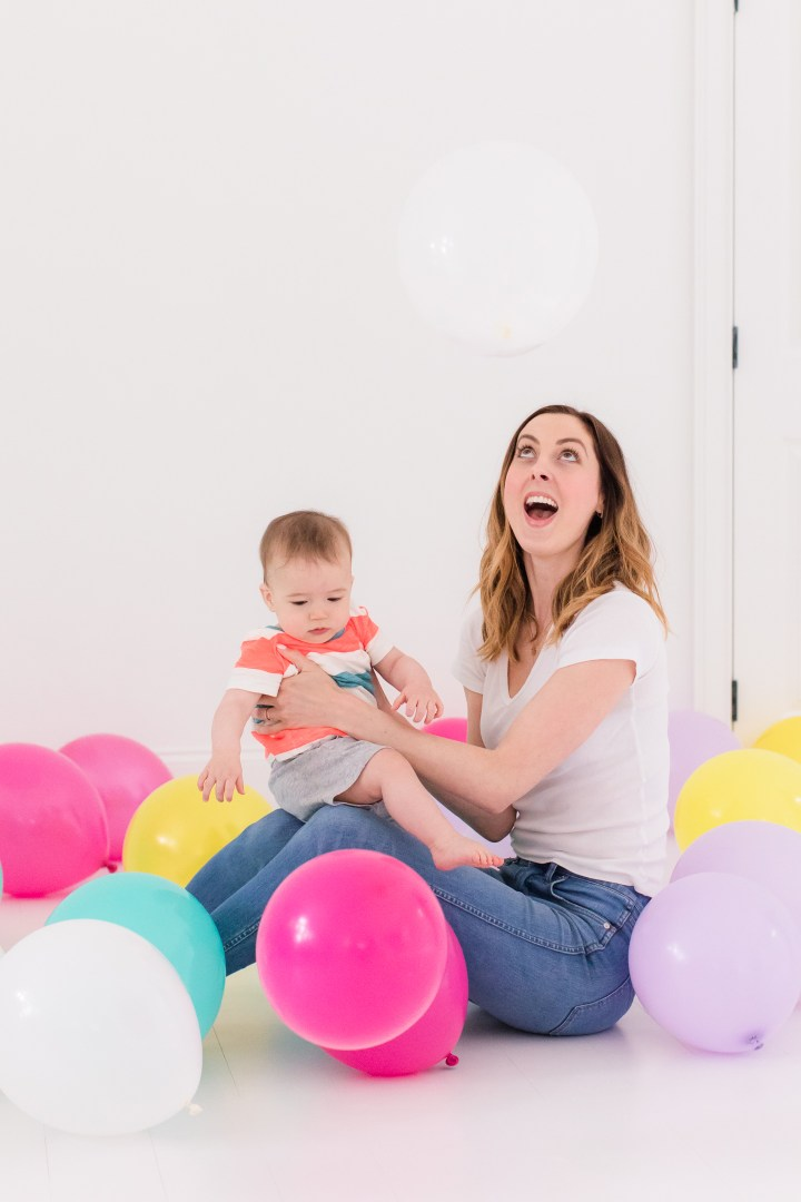 Eva Amurri Martino stands in the Happily Eva After studio filled with balloons to celebrate the second anniversary of the blog