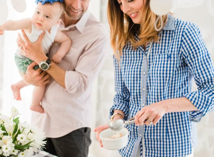 Eva Amurri Martino, her husband, children, and friends gather to celebrate a festive ice cream social with blue bunny ice cream