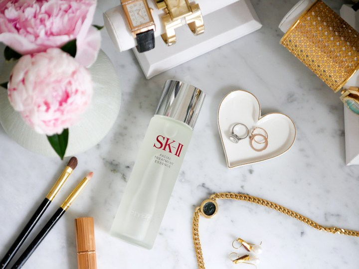 A bottle of SKII Facial Treatment Essence sits on Eva Amurri Martino's vanity in the glam room of her Connecticut home