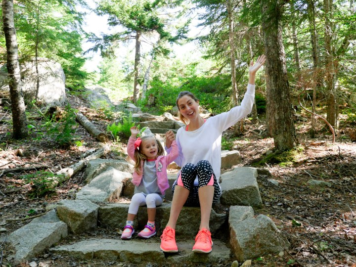 Eva Amurri Martino and Marlowe Martino set off on a hike in Acadia National park