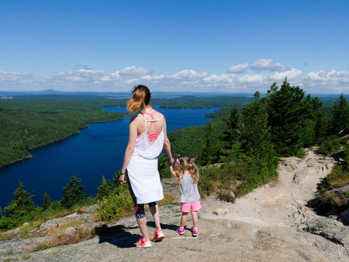 Eva Amurri Martino dons workout gear and hikes the cliff trails of Acadia National Park with two year old daughter Marlowe
