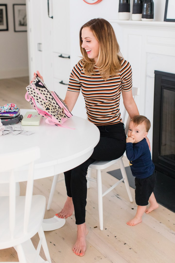 Eva Amurri Martino sits at the kitchen table in her Connecticut home and prepares three year old daughter, Marlowe, for Preschool