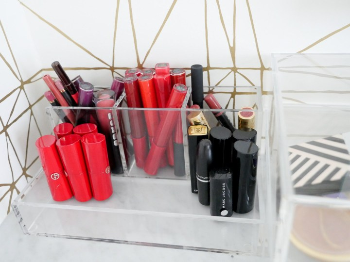 lipsticks are organized in an acryclic makeup holder in Eva Amurri Martino's connecticut glam room