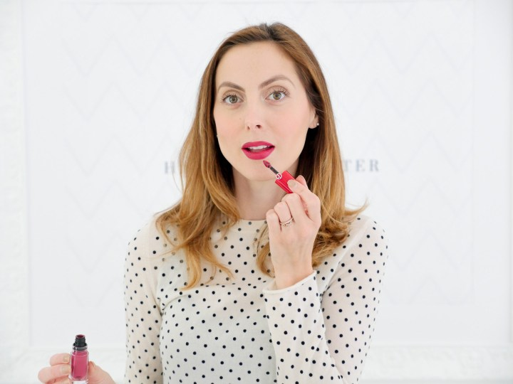 Eva Amurri Martino shows how she wears a berry colored liquid lipstick for Fall as part of her Monthly Obsessions roundup