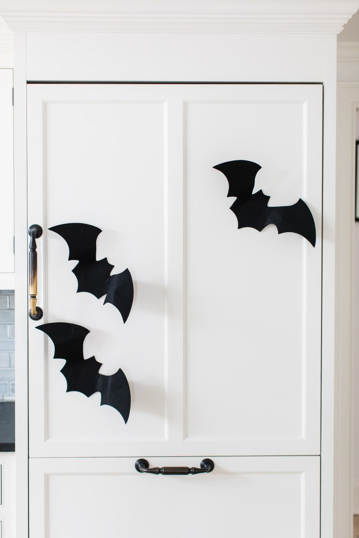Felt bats land on the refrigerator in Eva Amurri Martino's Connnecticut kitchen