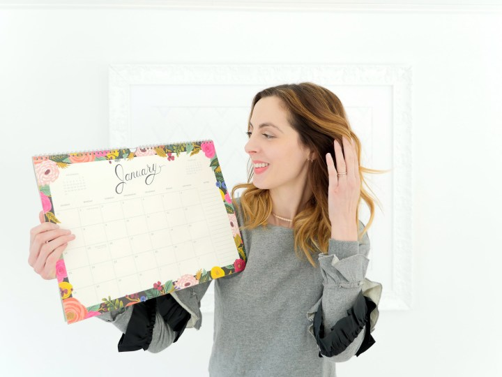 Eva Amurri Martino shares a pretty floral wall calendar as part of her monthly obsessions post