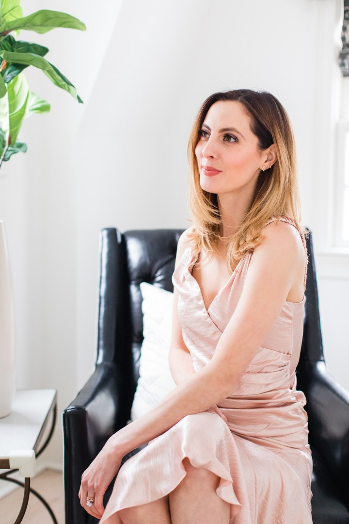 Eva Amurri Martino wears a silk romantic dress for Date NIght