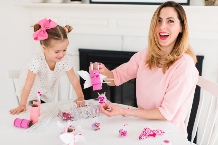 Eva Amurri Martino shows how the baby Lovebugs fit inside the Mommy Lovebugs as part of her Valentine's Day kids craft
