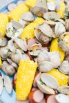 A closeup of the luscious clam and corn spread from Fjord Fish Market