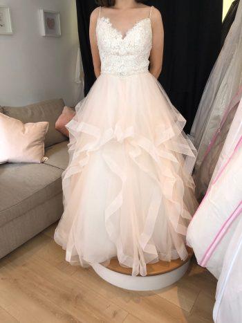 Apricot Blush Flounce-Skirt Gown - Size 16