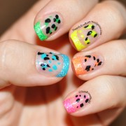 neon french tip with animal print