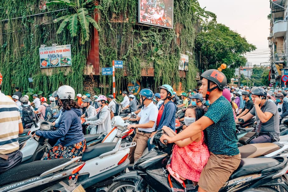busy road in Hanoi