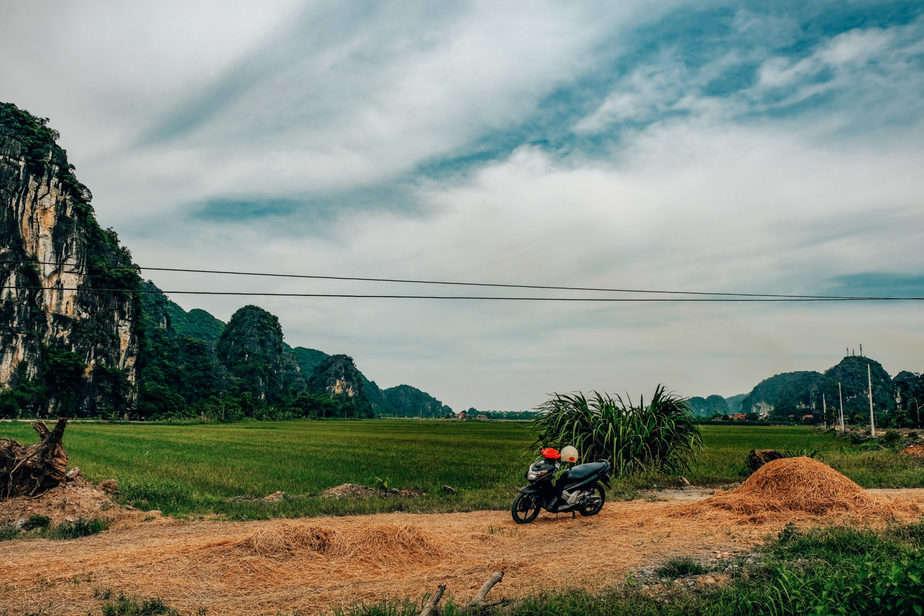 Motorbike in rice fields