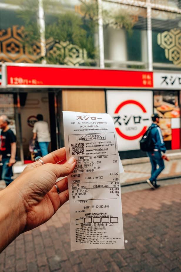 Receipt for belt conveyor sushi