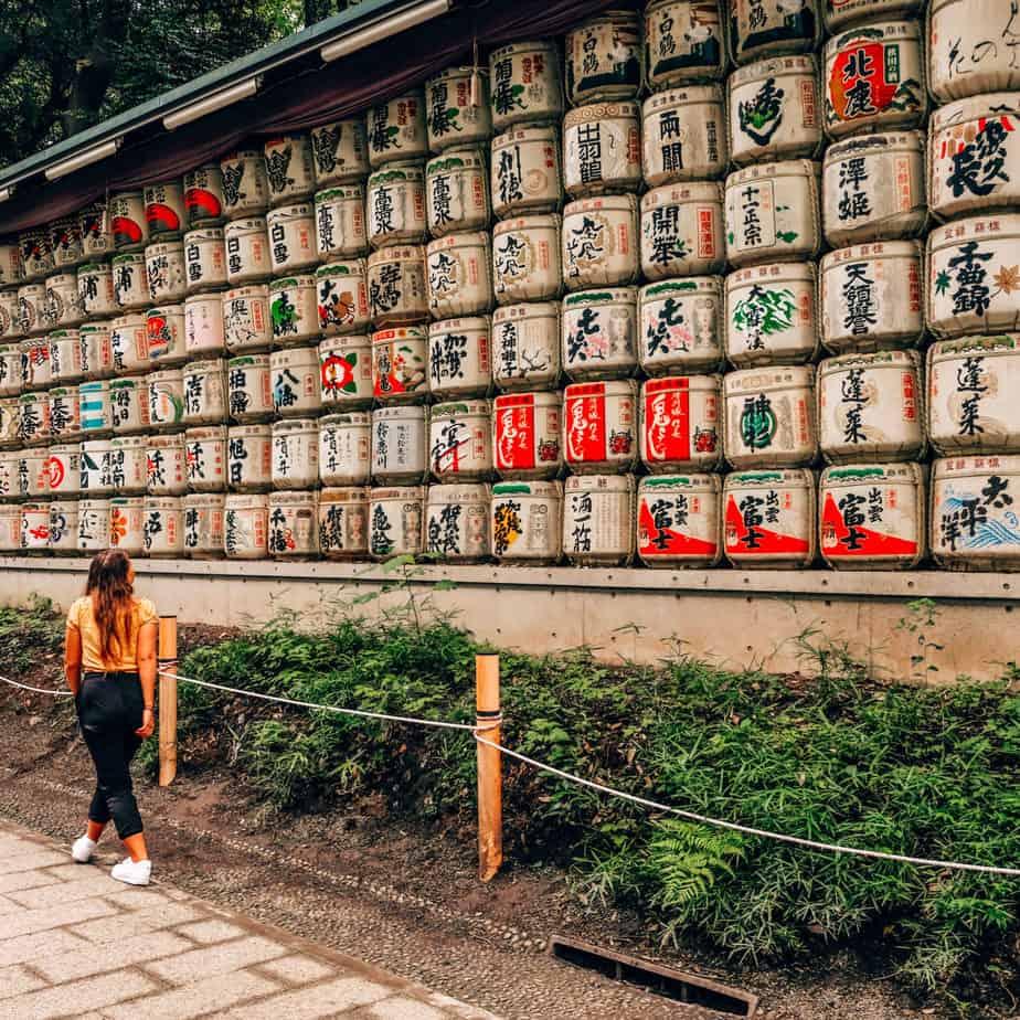 Girl walking at the Meiji Shrine in Tokyo, Japan