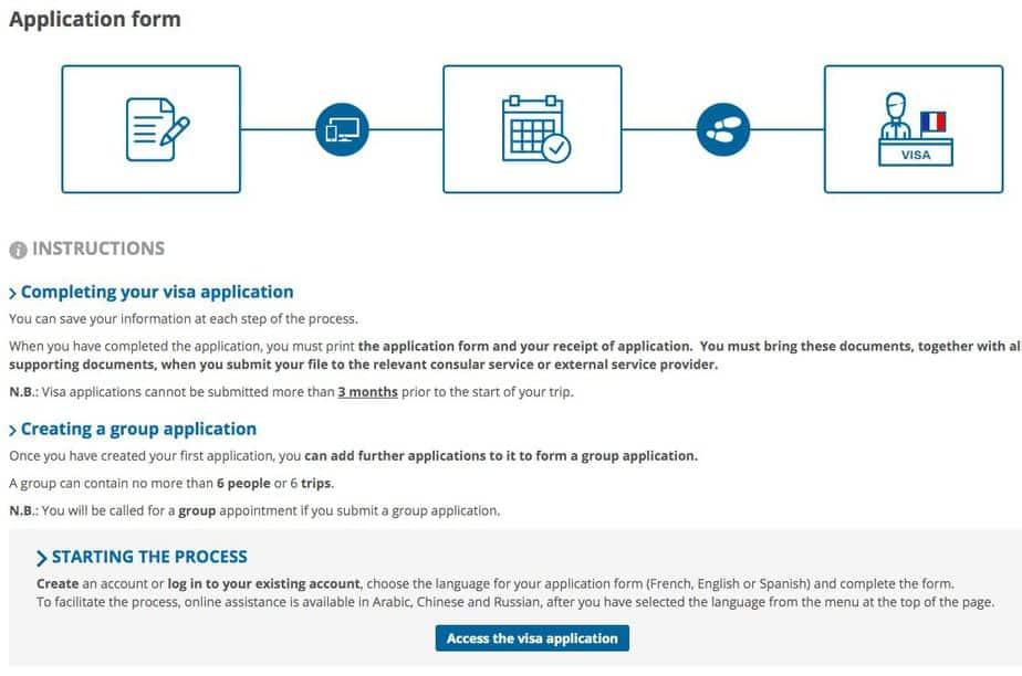 Starting the visa process on France Visa Website
