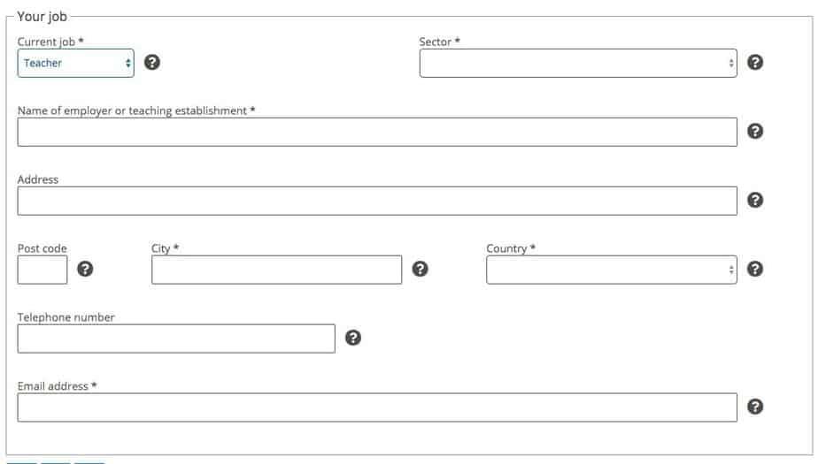"Fill out ""Your Job"" form on France Visa Website"
