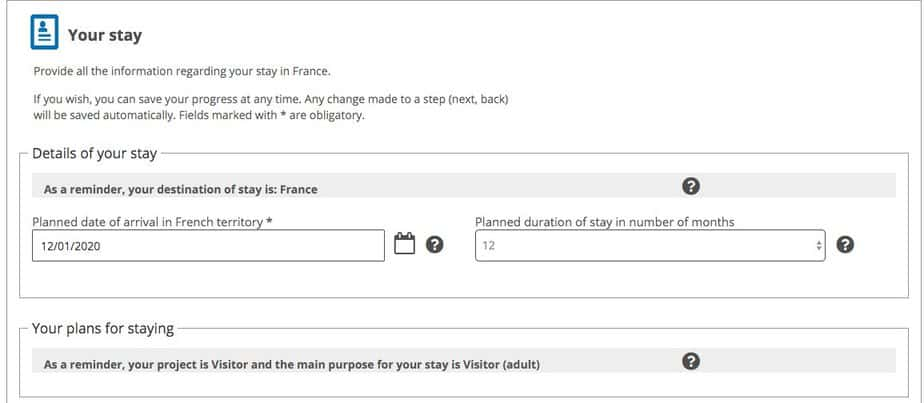 Fill out dates of your stay in France
