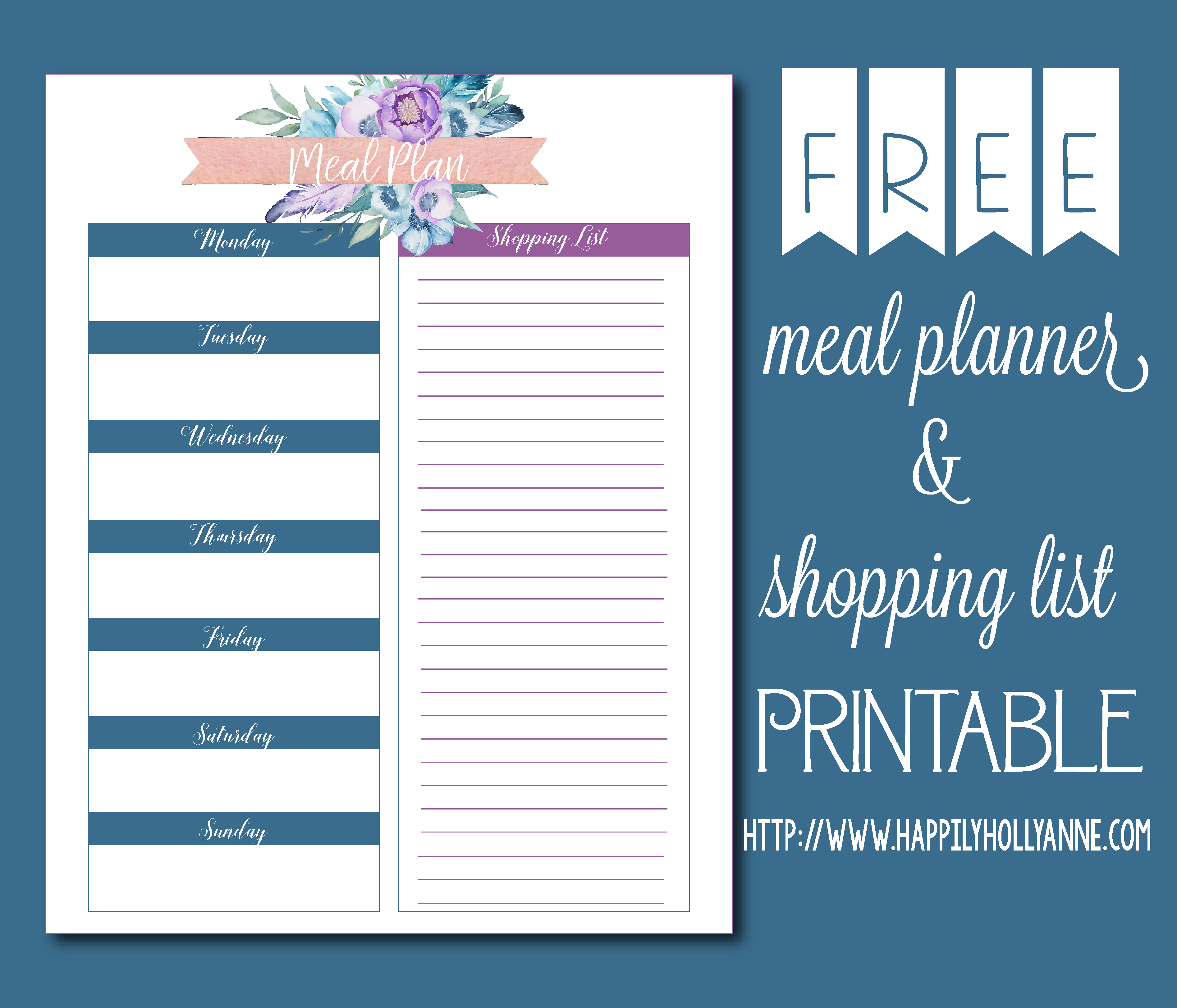 photo about Free Printable Menu Planner called No cost Printable Menu Planner - Holly Anne