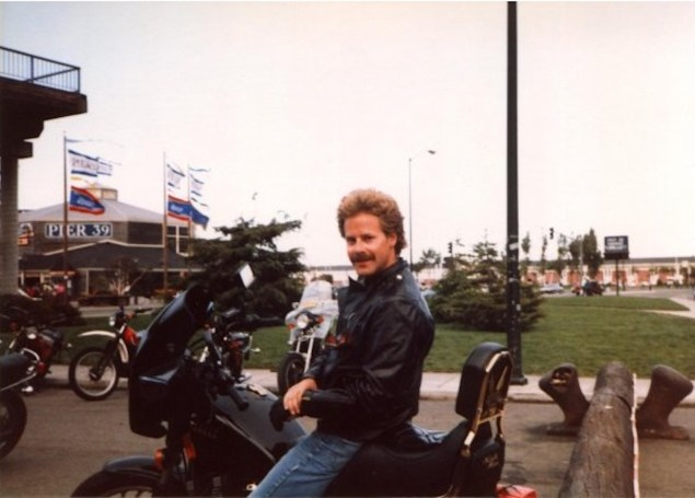 Jimmy Tarpey Snr on the Yamaha Maxim in its heyday in San Francisco, USA, on one of his many trips with his wife Linda.