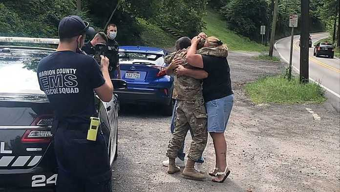 Pulled over by cops, surprised by military son