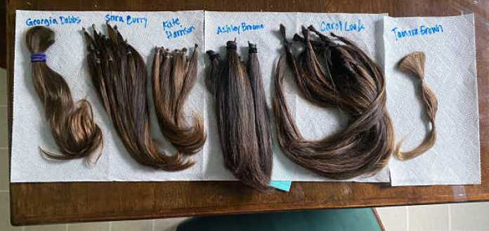 Samples of hair used to create Dana's new wig