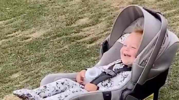 baby laughs at air shot
