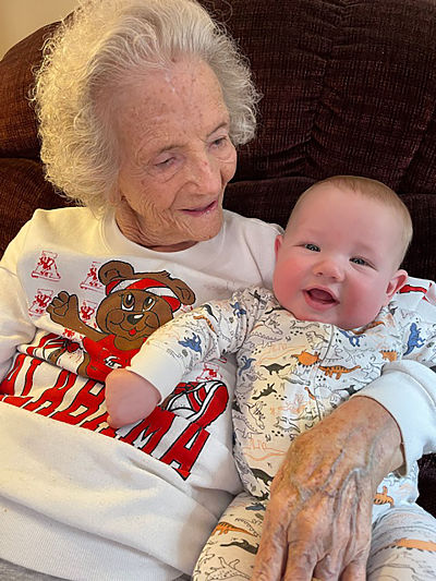 Great-Great-Grandmother Surprised On 96th Birthday With First Visit From Family's Latest Newborn