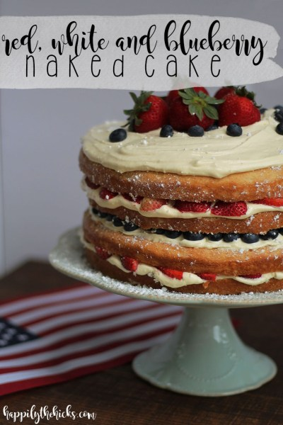 Red, White and Blueberry Naked Cake | read more at happilythehicks.com