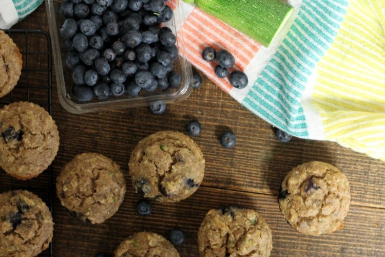 Blueberry Zucchini Muffins | read more at happilythehicks.com