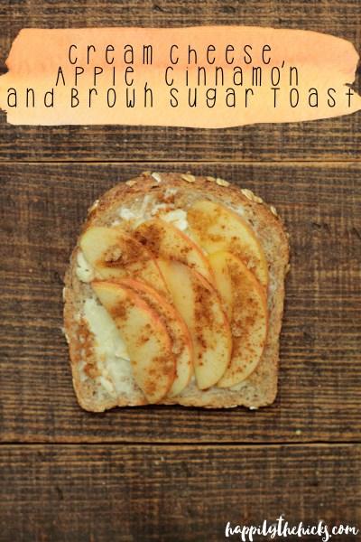 Cream Cheese, Apple, Cinnamon and Brown Sugar Toast   read more at happilythehicks.com