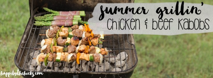Summer Grillin' with some chicken and beef kabobs! *Whole30 approved!* | read more at happilythehicks.com