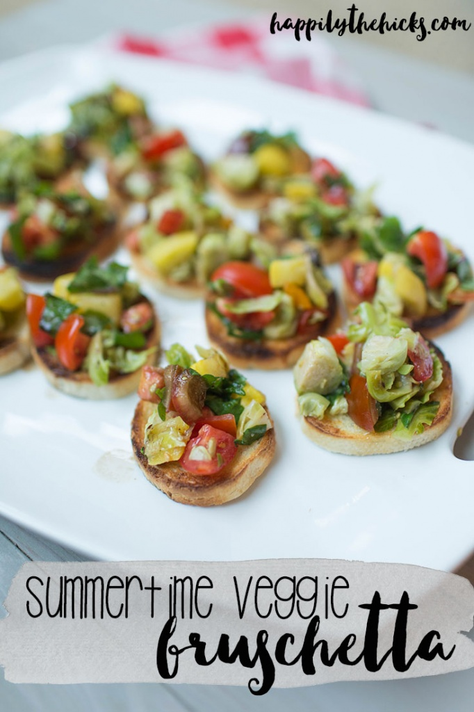 Summertime Veggie Bruschetta | The perfect appetizer for your next summer dinner party! | read more at happilythehicks.com