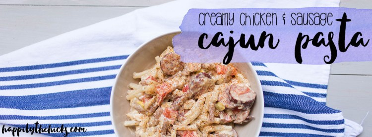 This Creamy Chicken & Sausage Cajun Pasta is gluten free and dairy free- perfect for lunch or dinner! | read more at happilythehicks.com