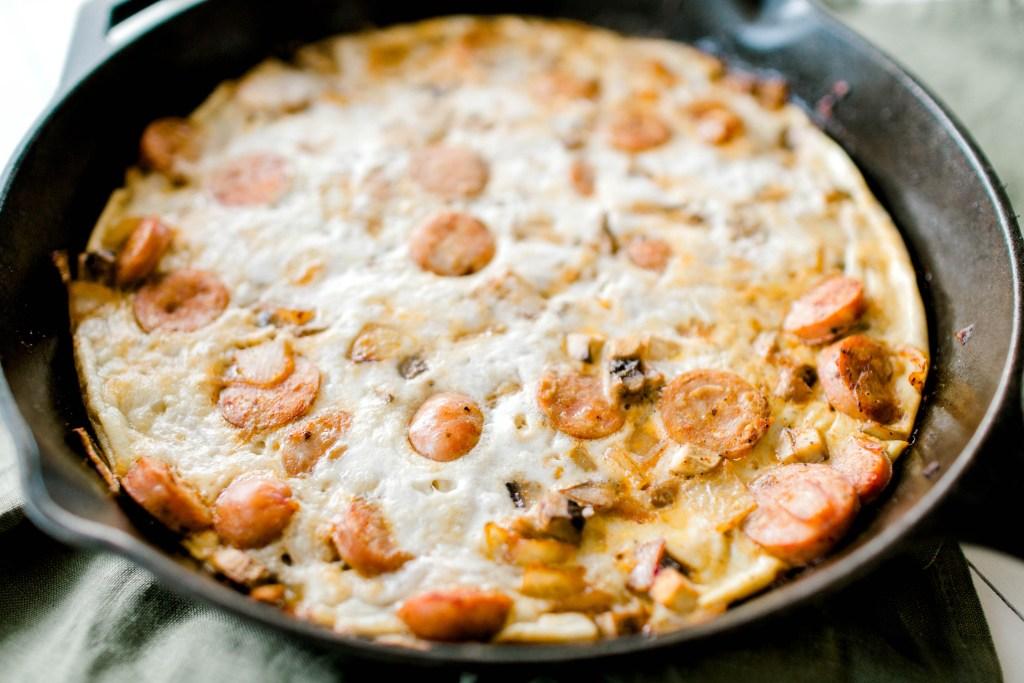 Sausage, Mushroom and Onion Frittata   read more at happilythehicks.com