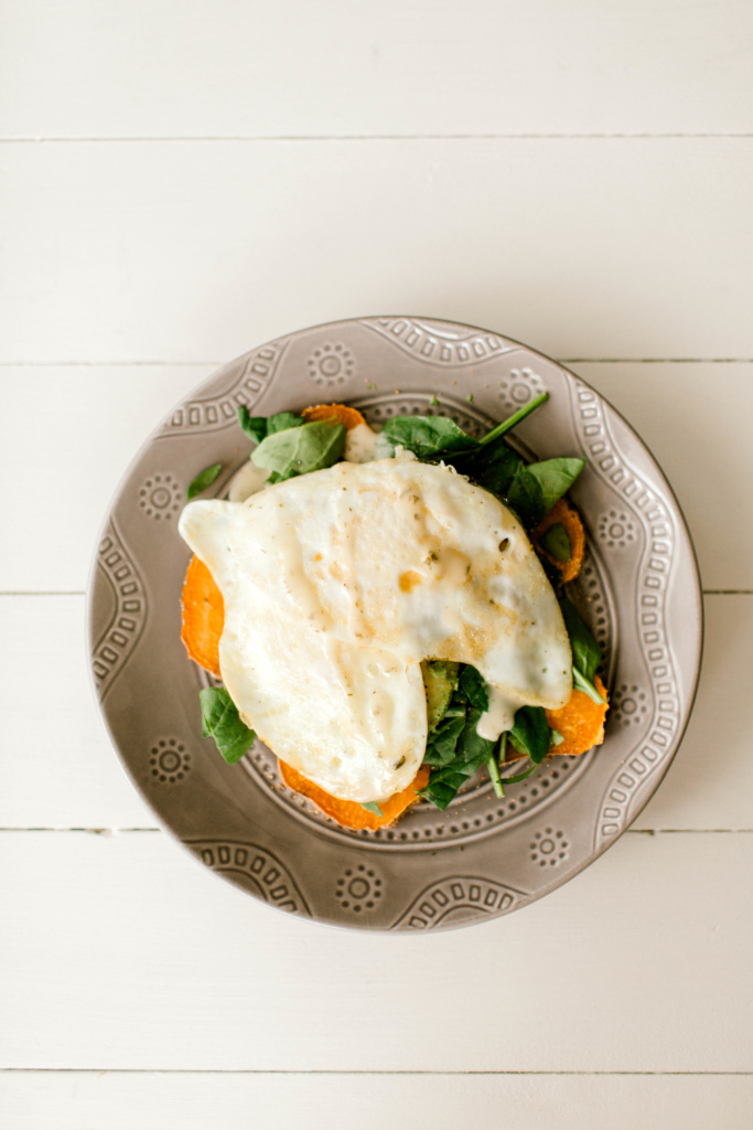 "Sweet Potato Avocado Egg ""Toast"" | read more at happilythehicks.com"