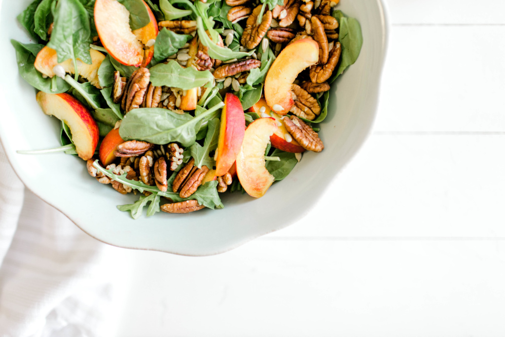 Peaches and Pecans Summer Salad | read more at happilythehicks.com