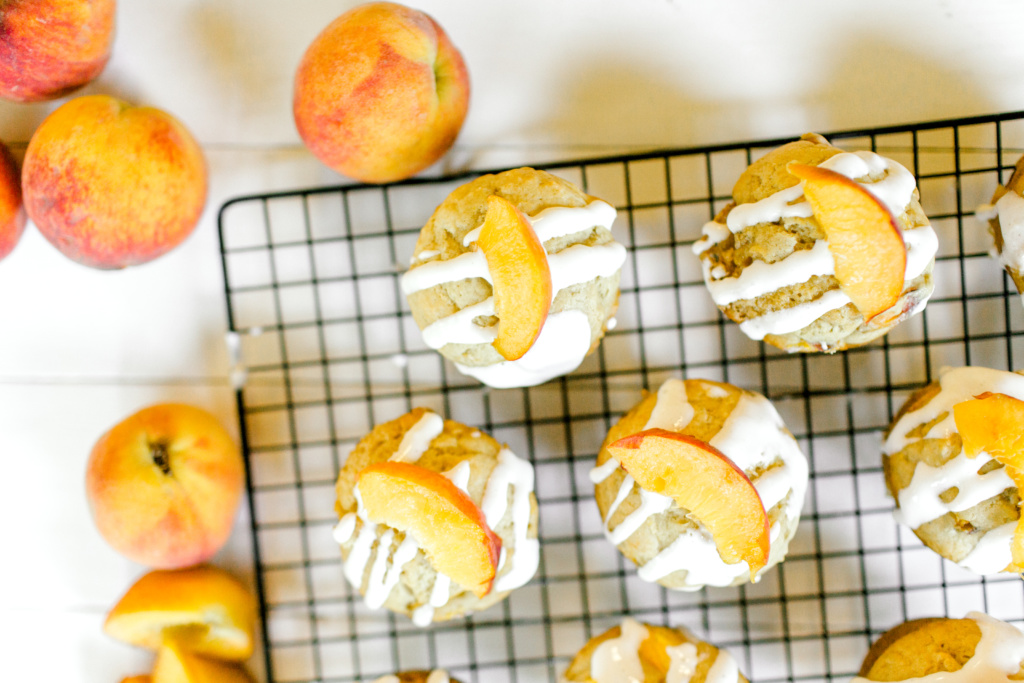 Peach Muffins with Cream Cheese Drizzle